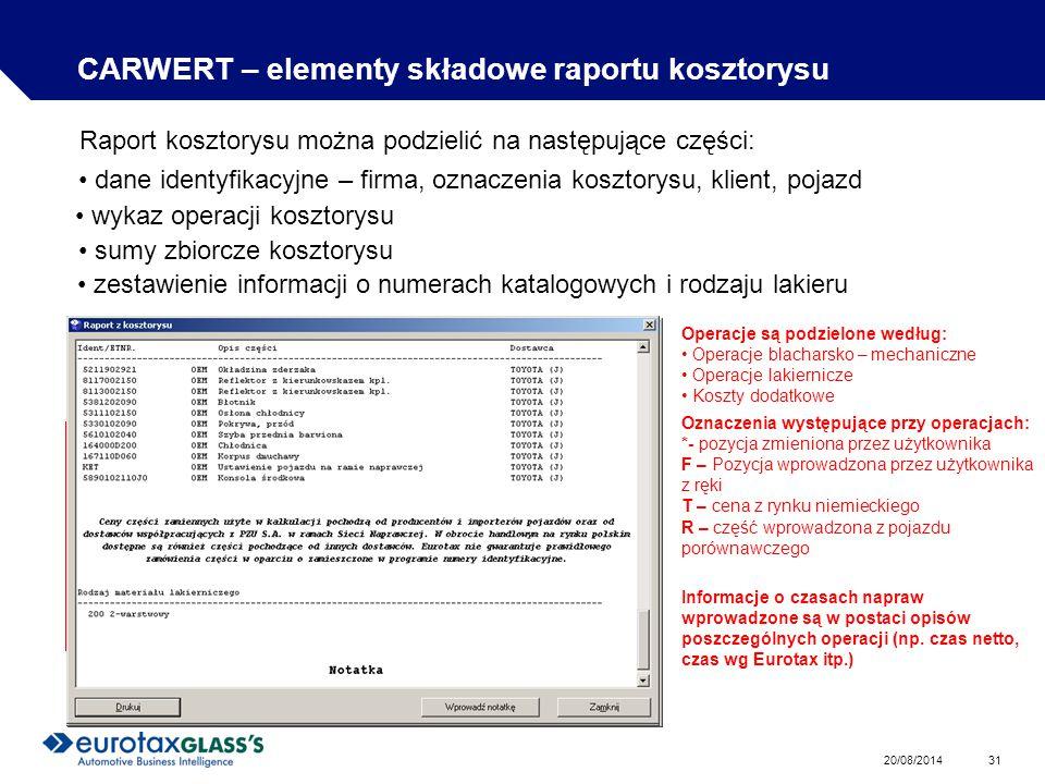 20/08/2014 31 CARWERT – elementy składowe raportu kosztorysu Raport kosztorysu można podzielić na następujące części: dane identyfikacyjne – firma, oznaczenia kosztorysu, klient, pojazd wykaz operacji kosztorysu Operacje są podzielone według: Operacje blacharsko – mechaniczne Operacje lakiernicze Koszty dodatkowe Oznaczenia występujące przy operacjach: *- pozycja zmieniona przez użytkownika F – Pozycja wprowadzona przez użytkownika z ręki T – cena z rynku niemieckiego R – część wprowadzona z pojazdu porównawczego sumy zbiorcze kosztorysu zestawienie informacji o numerach katalogowych i rodzaju lakieru Informacje o czasach napraw wprowadzone są w postaci opisów poszczególnych operacji (np.