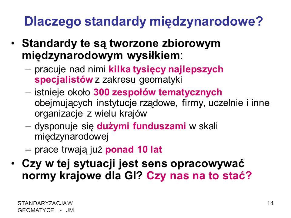 STANDARYZACJA W GEOMATYCE - JM 14 Dlaczego standardy międzynarodowe? Standardy te są tworzone zbiorowym międzynarodowym wysiłkiem: –pracuje nad nimi k