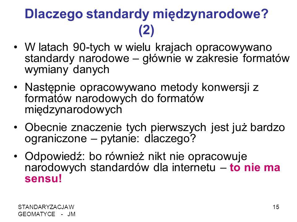 STANDARYZACJA W GEOMATYCE - JM 15 Dlaczego standardy międzynarodowe? (2) W latach 90-tych w wielu krajach opracowywano standardy narodowe – głównie w