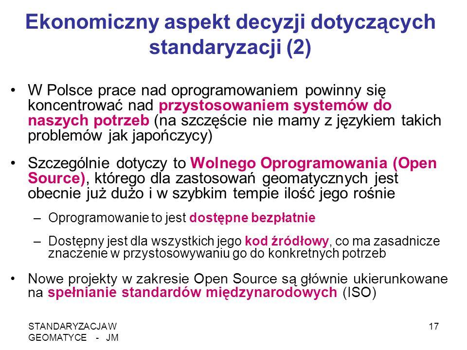 STANDARYZACJA W GEOMATYCE - JM 17 Ekonomiczny aspekt decyzji dotyczących standaryzacji (2) W Polsce prace nad oprogramowaniem powinny się koncentrować
