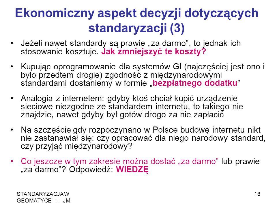 """STANDARYZACJA W GEOMATYCE - JM 18 Ekonomiczny aspekt decyzji dotyczących standaryzacji (3) Jeżeli nawet standardy są prawie """"za darmo"""", to jednak ich"""