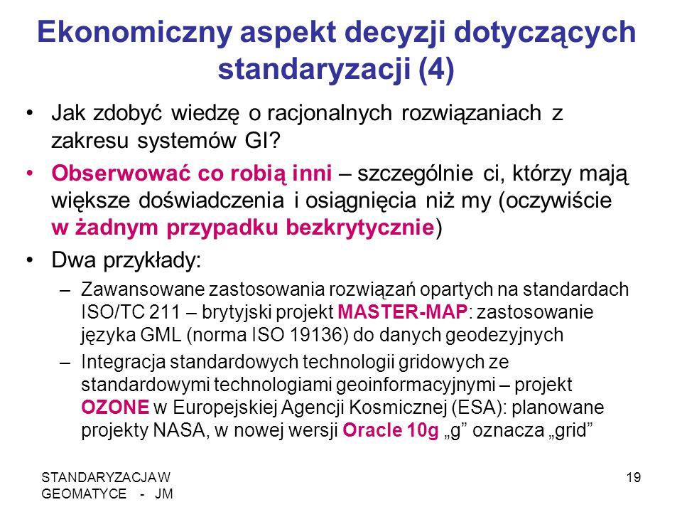 STANDARYZACJA W GEOMATYCE - JM 19 Ekonomiczny aspekt decyzji dotyczących standaryzacji (4) Jak zdobyć wiedzę o racjonalnych rozwiązaniach z zakresu sy