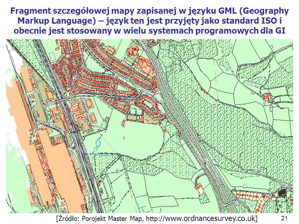 21 Fragment szczegółowej mapy zapisanej w języku GML (Geography Markup Language) – język ten jest przyjęty jako standard ISO i obecnie jest stosowany