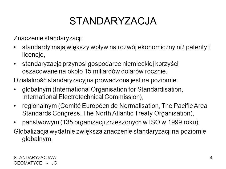 STANDARYZACJA W GEOMATYCE - JG 4 STANDARYZACJA Znaczenie standaryzacji: standardy mają większy wpływ na rozwój ekonomiczny niż patenty i licencje, sta