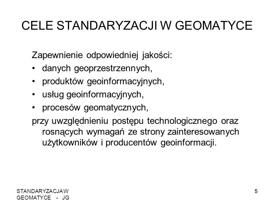 STANDARYZACJA W GEOMATYCE - JG 5 CELE STANDARYZACJI W GEOMATYCE Zapewnienie odpowiedniej jakości: danych geoprzestrzennych, produktów geoinformacyjnyc