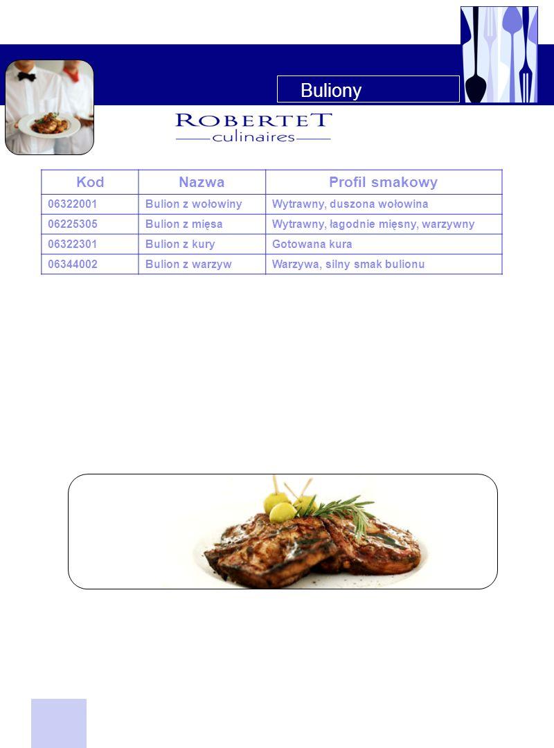 Buliony KodNazwaProfil smakowy 06322001Bulion z wołowinyWytrawny, duszona wołowina 06225305Bulion z mięsaWytrawny, łagodnie mięsny, warzywny 06322301B