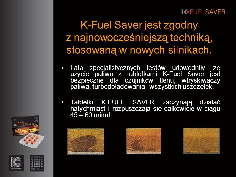 Lata specjalistycznych testów udowodniły, że użycie paliwa z tabletkami K-Fuel Saver jest bezpieczne dla czujników tlenu, wtryskiwaczy paliwa, turbodoładowania i wszystkich uszczelek.