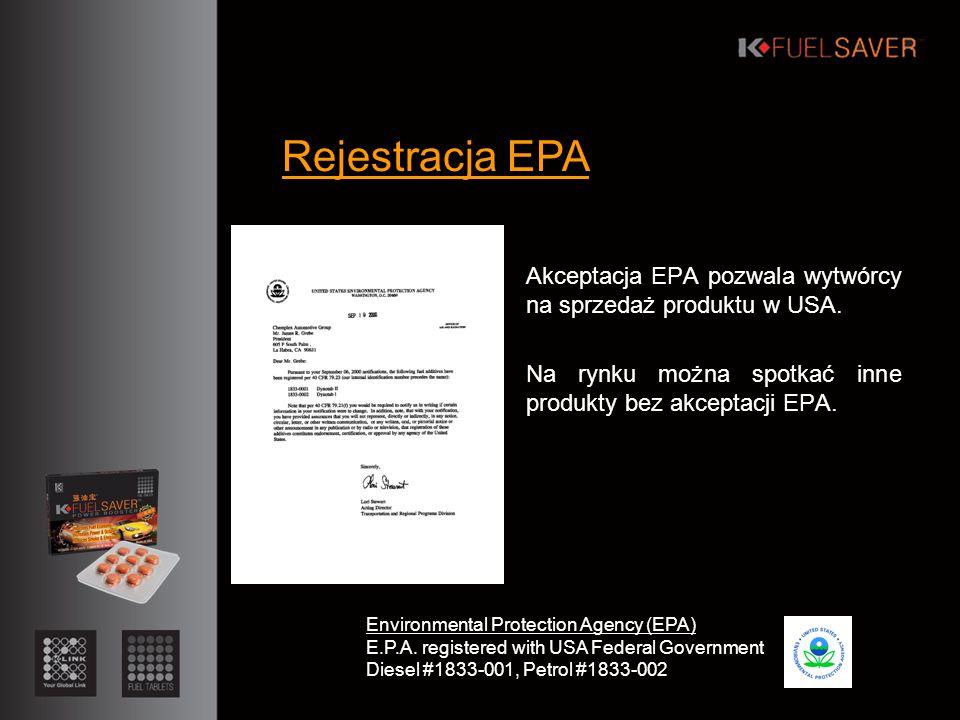 Akceptacja EPA pozwala wytwórcy na sprzedaż produktu w USA.