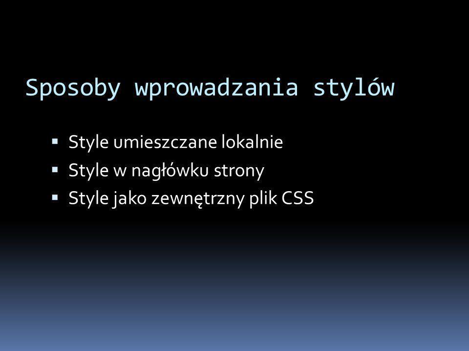 Style umieszczane lokalnie Jakiś tekst.