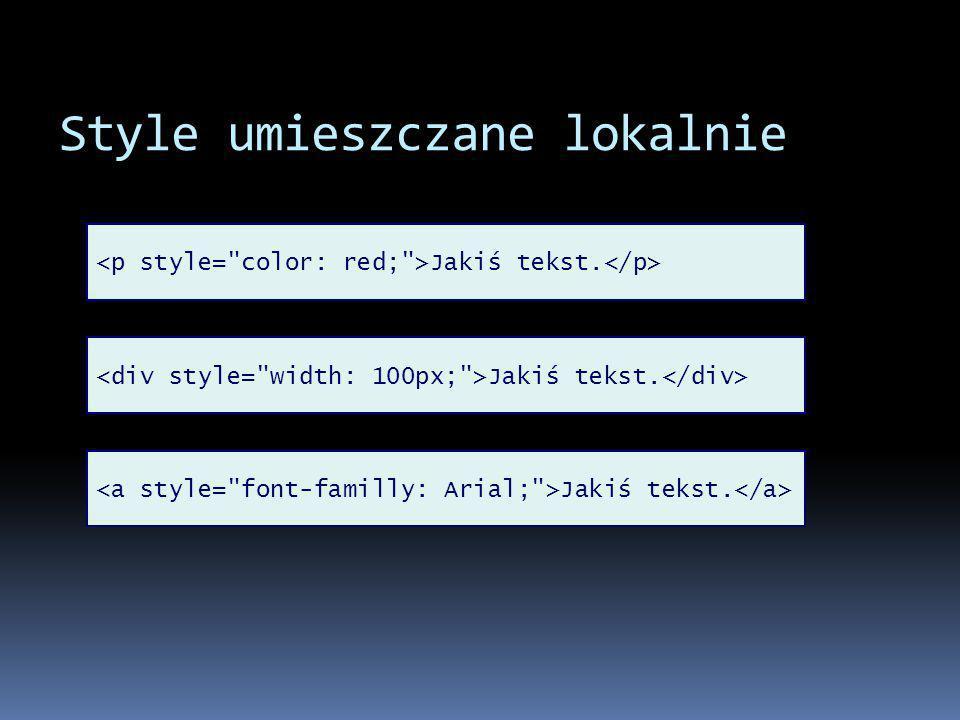 Style w nagłówku strony.p { color: blue; } Jakiś tekst.