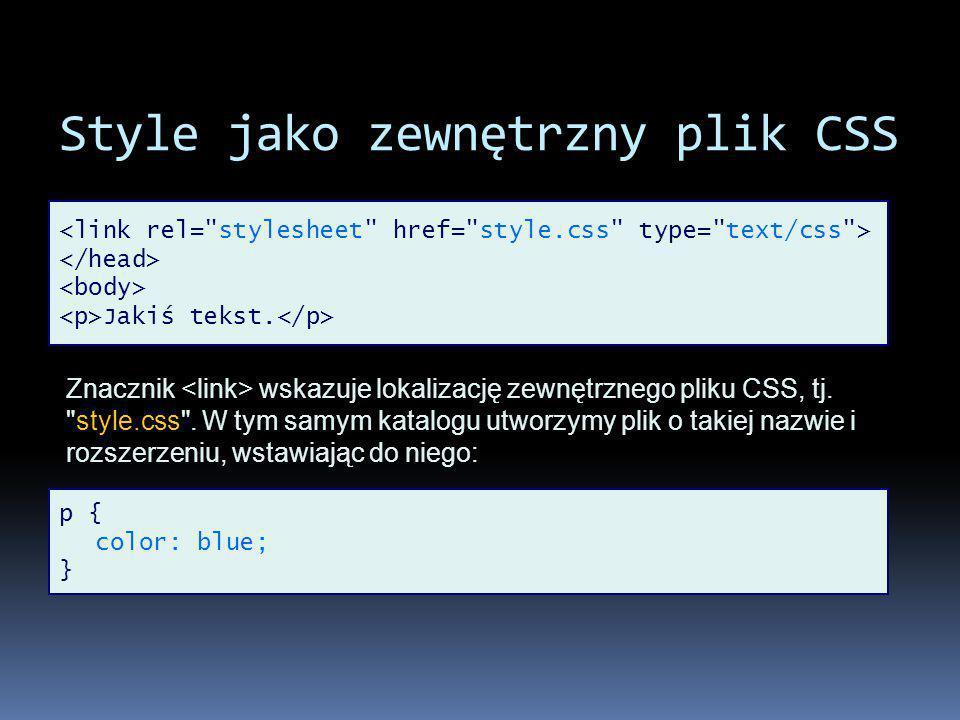 Style jako zewnętrzny plik CSS Jakiś tekst.