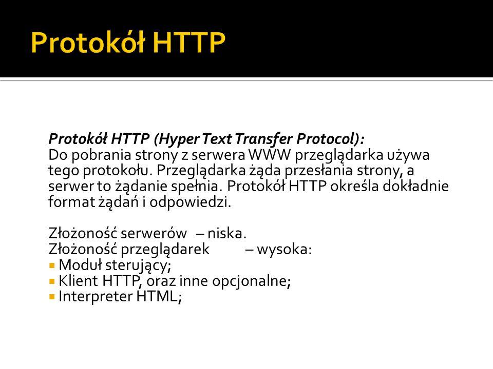 Protokół HTTP (Hyper Text Transfer Protocol): Do pobrania strony z serwera WWW przeglądarka używa tego protokołu. Przeglądarka żąda przesłania strony,