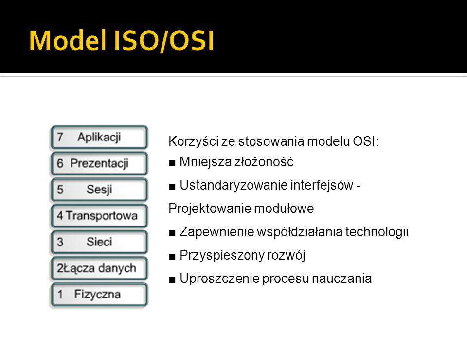 Korzyści ze stosowania modelu OSI: ■ Mniejsza złożoność ■ Ustandaryzowanie interfejsów - Projektowanie modułowe ■ Zapewnienie współdziałania technolog