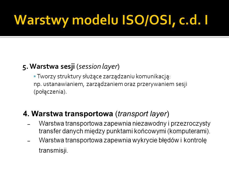 5. Warstwa sesji (session layer)  Tworzy struktury służące zarządzaniu komunikacją: np. ustanawianiem, zarządzaniem oraz przerywaniem sesji (połączen
