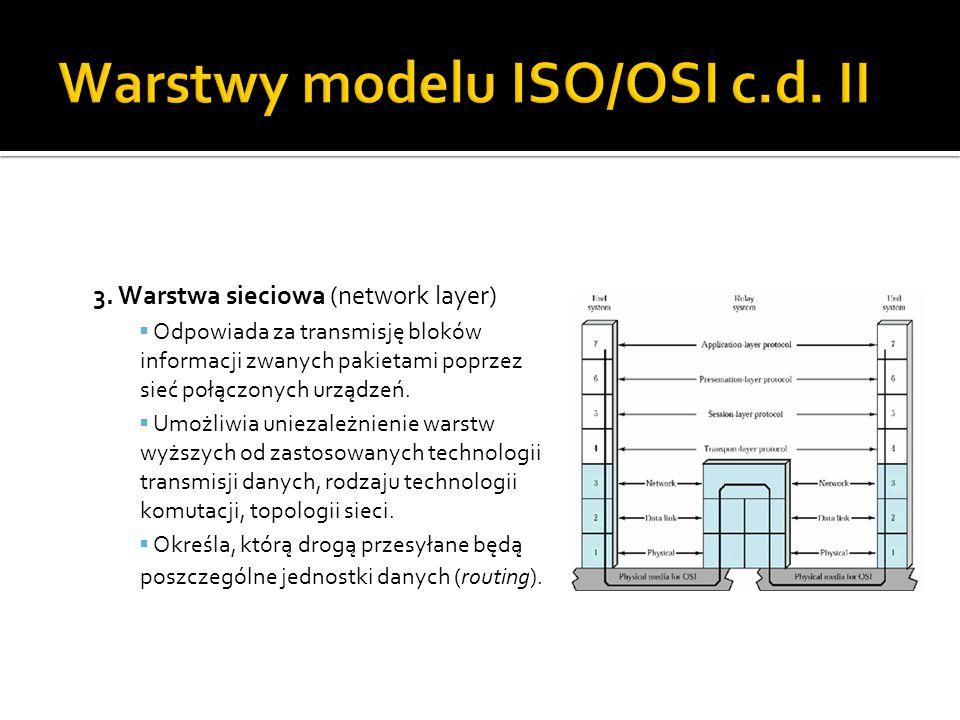 3. Warstwa sieciowa (network layer)  Odpowiada za transmisję bloków informacji zwanych pakietami poprzez sieć połączonych urządzeń.  Umożliwia uniez