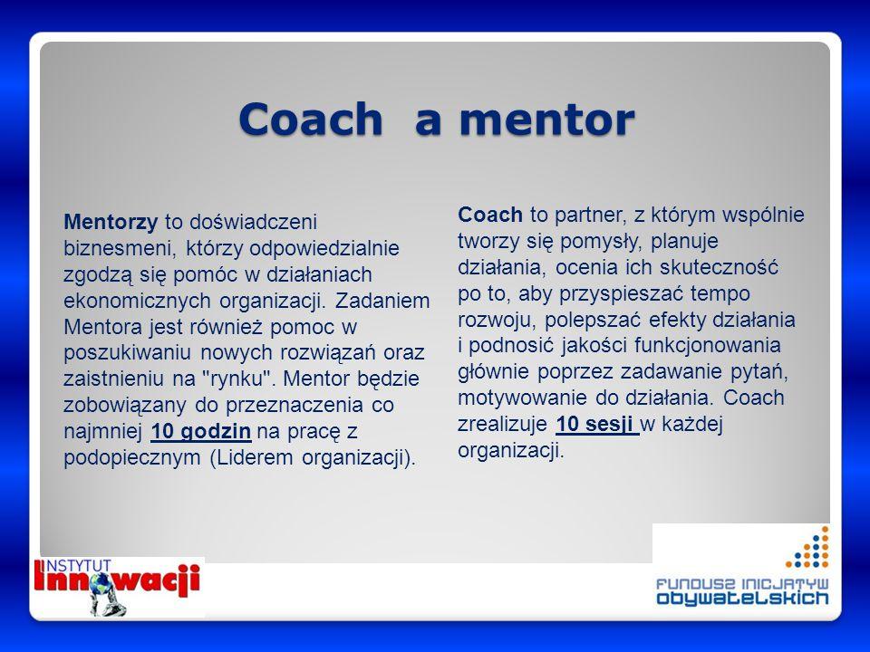 Coach a mentor Coach to partner, z którym wspólnie tworzy się pomysły, planuje działania, ocenia ich skuteczność po to, aby przyspieszać tempo rozwoju