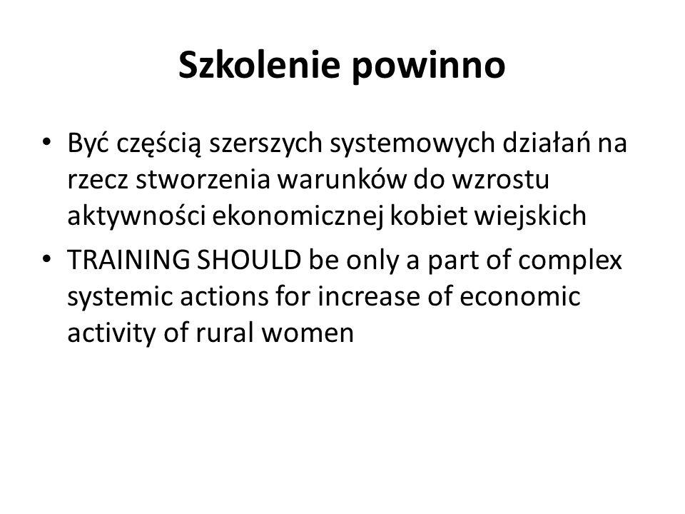 Szkolenie powinno Być częścią szerszych systemowych działań na rzecz stworzenia warunków do wzrostu aktywności ekonomicznej kobiet wiejskich TRAINING SHOULD be only a part of complex systemic actions for increase of economic activity of rural women