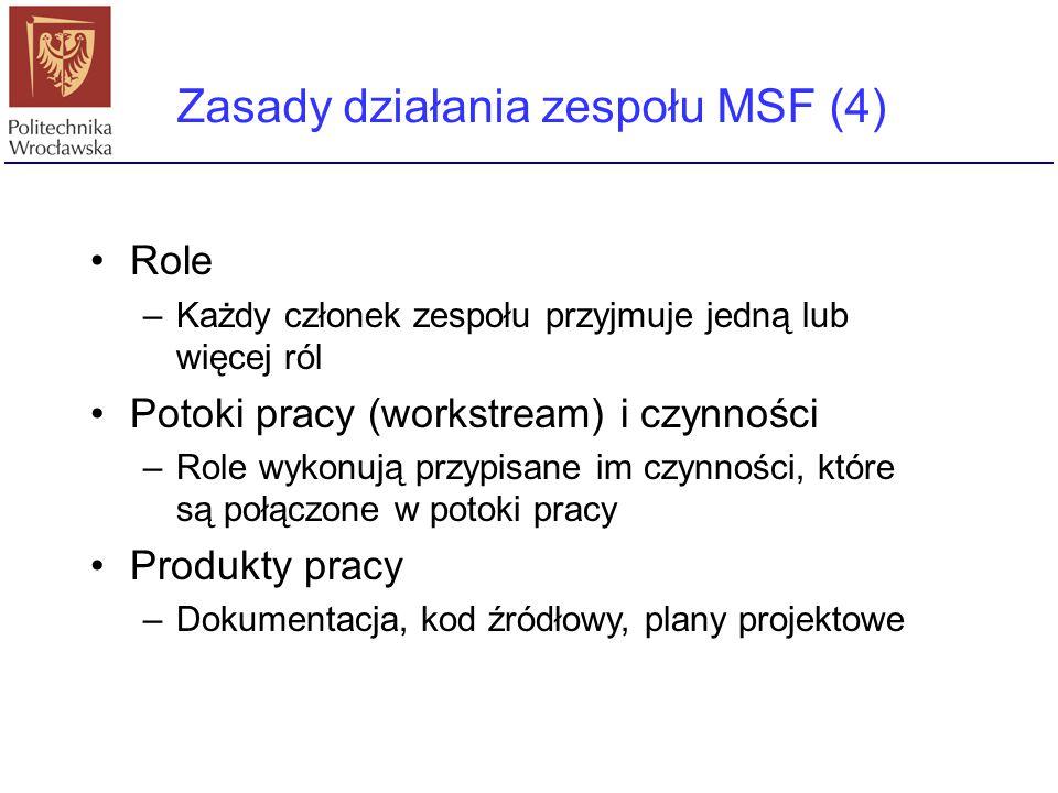 Zasady działania zespołu MSF (4) Role –Każdy członek zespołu przyjmuje jedną lub więcej ról Potoki pracy (workstream) i czynności –Role wykonują przyp