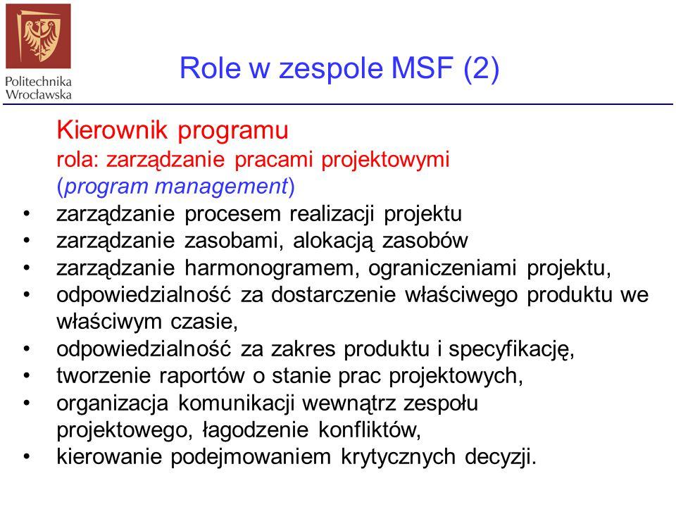 Kierownik programu rola: zarządzanie pracami projektowymi (program management) zarządzanie procesem realizacji projektu zarządzanie zasobami, alokacją