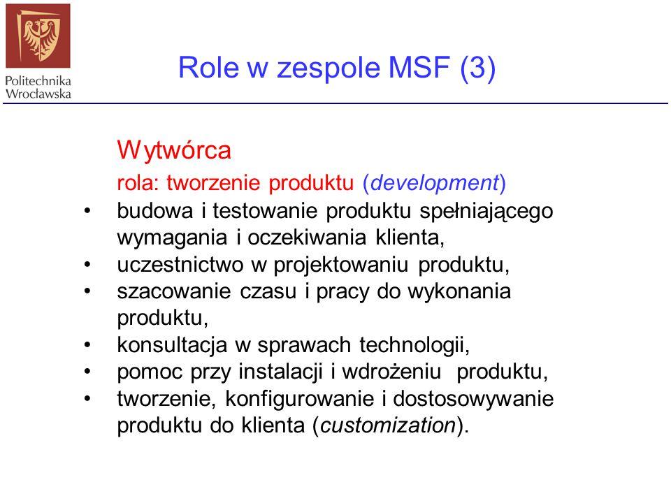 Role w zespole MSF (3) Wytwórca rola: tworzenie produktu (development) budowa i testowanie produktu spełniającego wymagania i oczekiwania klienta, ucz