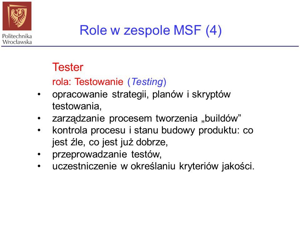 """Role w zespole MSF (4) Tester rola: Testowanie (Testing) opracowanie strategii, planów i skryptów testowania, zarządzanie procesem tworzenia """"buildów"""""""