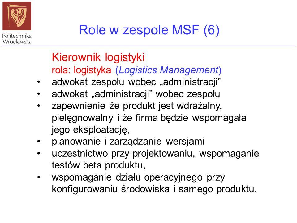 """Role w zespole MSF (6) Kierownik logistyki rola: logistyka (Logistics Management) adwokat zespołu wobec """"administracji"""" adwokat """"administracji"""" wobec"""