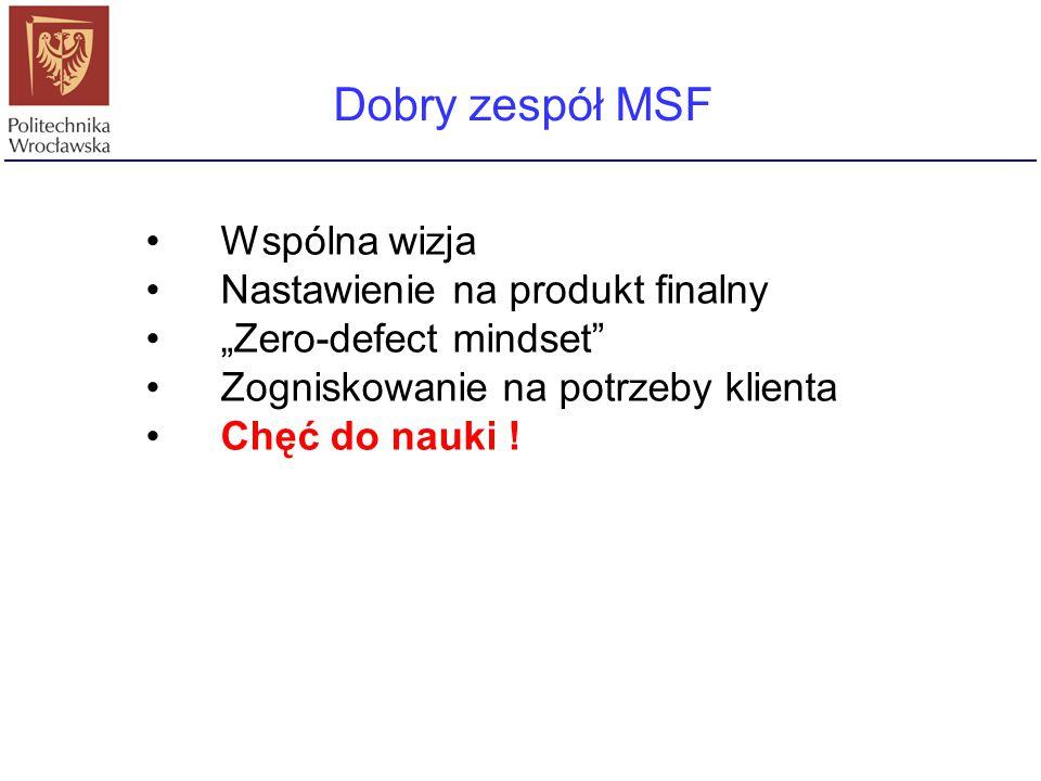 """Dobry zespół MSF Wspólna wizja Nastawienie na produkt finalny """"Zero-defect mindset"""" Zogniskowanie na potrzeby klienta Chęć do nauki !"""