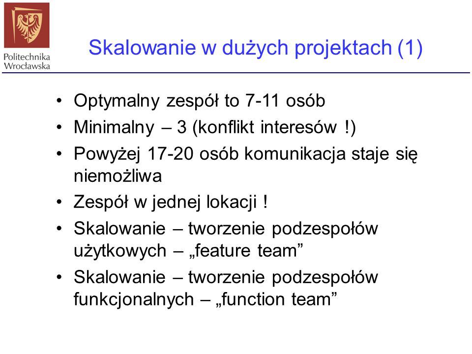 Skalowanie w dużych projektach (1) Optymalny zespół to 7-11 osób Minimalny – 3 (konflikt interesów !) Powyżej 17-20 osób komunikacja staje się niemożl