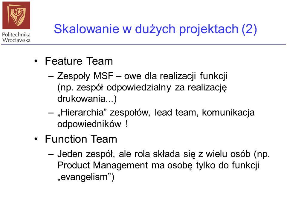 """Feature Team –Zespoły MSF – owe dla realizacji funkcji (np. zespół odpowiedzialny za realizację drukowania...) –""""Hierarchia"""" zespołów, lead team, komu"""