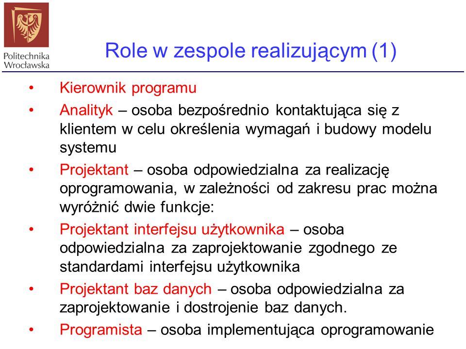Role w zespole realizującym (1) Kierownik programu Analityk – osoba bezpośrednio kontaktująca się z klientem w celu określenia wymagań i budowy modelu