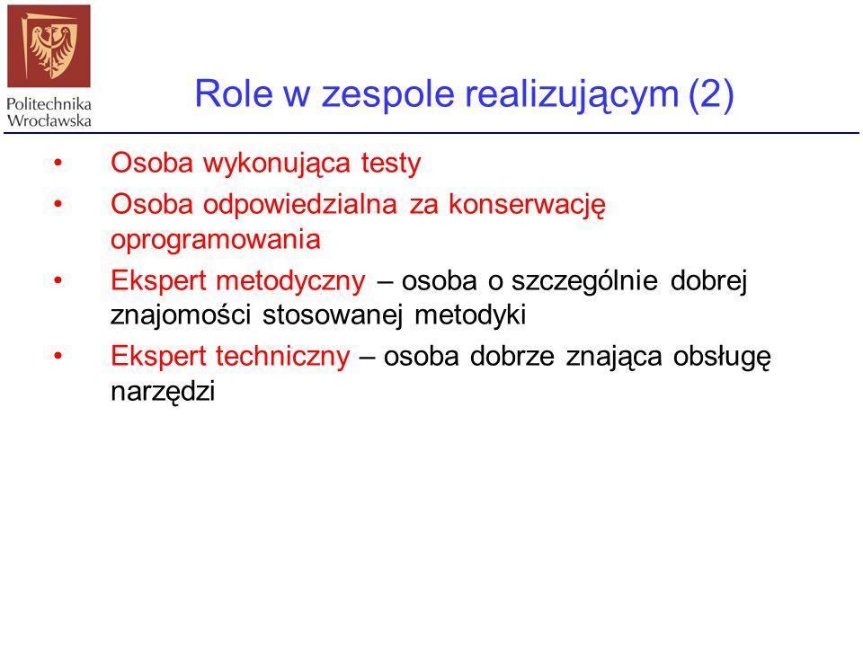 Role w zespole realizującym (2) Osoba wykonująca testy Osoba odpowiedzialna za konserwację oprogramowania Ekspert metodyczny – osoba o szczególnie dob