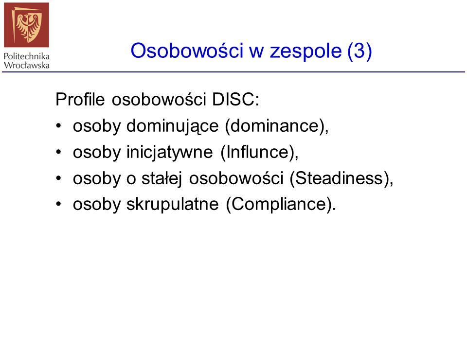 Osobowości w zespole (3) Profile osobowości DISC: osoby dominujące (dominance), osoby inicjatywne (Influnce), osoby o stałej osobowości (Steadiness),
