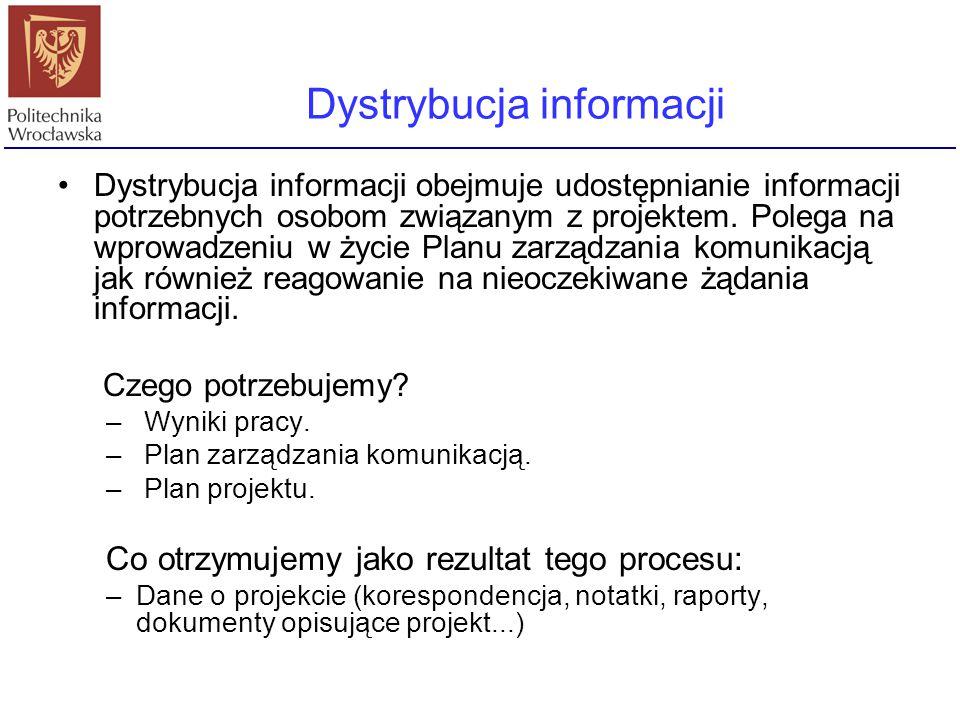 Dystrybucja informacji obejmuje udostępnianie informacji potrzebnych osobom związanym z projektem. Polega na wprowadzeniu w życie Planu zarządzania ko