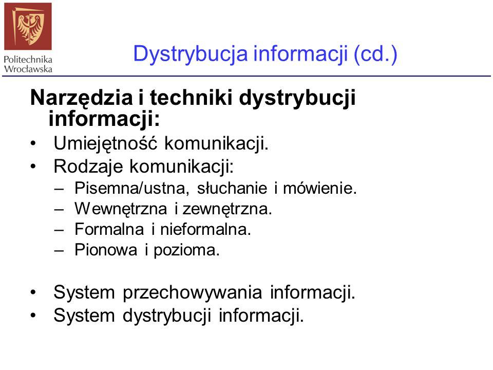 Narzędzia i techniki dystrybucji informacji: Umiejętność komunikacji. Rodzaje komunikacji: – Pisemna/ustna, słuchanie i mówienie. – Wewnętrzna i zewnę