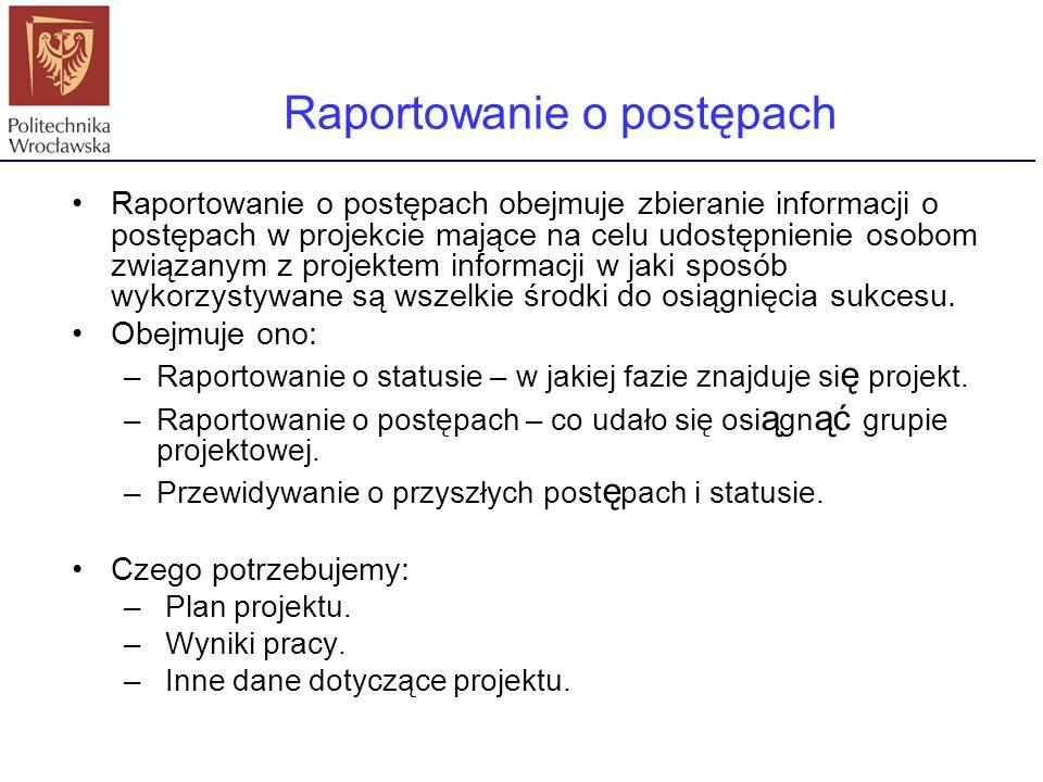 Raportowanie o postępach obejmuje zbieranie informacji o postępach w projekcie mające na celu udostępnienie osobom związanym z projektem informacji w