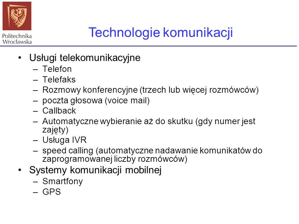 Usługi telekomunikacyjne –Telefon –Telefaks –Rozmowy konferencyjne (trzech lub więcej rozmówców) –poczta głosowa (voice mail) –Callback –Automatyczne