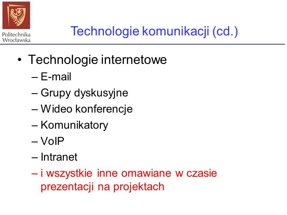 Technologie internetowe –E-mail –Grupy dyskusyjne –Wideo konferencje –Komunikatory –VoIP –Intranet –i wszystkie inne omawiane w czasie prezentacji na