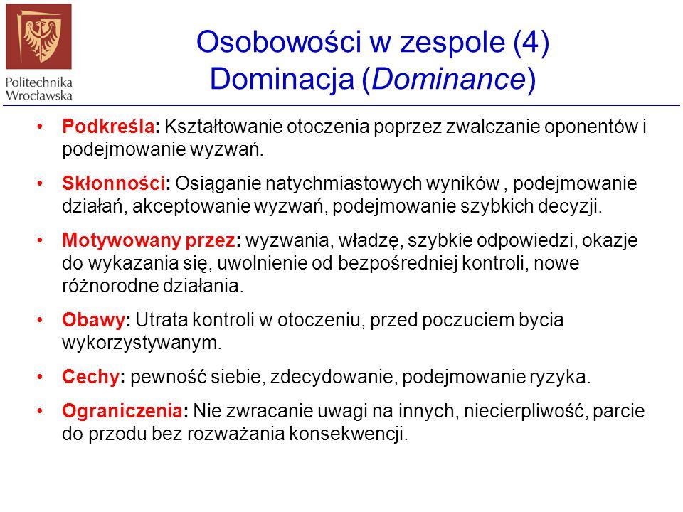 Osobowości w zespole (4) Dominacja (Dominance) Podkreśla: Kształtowanie otoczenia poprzez zwalczanie oponentów i podejmowanie wyzwań. Skłonności: Osią