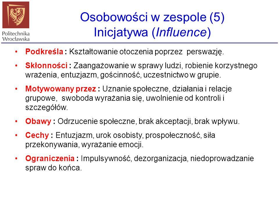 Osobowości w zespole (5) Inicjatywa (Influence) Podkreśla : Kształtowanie otoczenia poprzez perswazję. Skłonności : Zaangażowanie w sprawy ludzi, robi