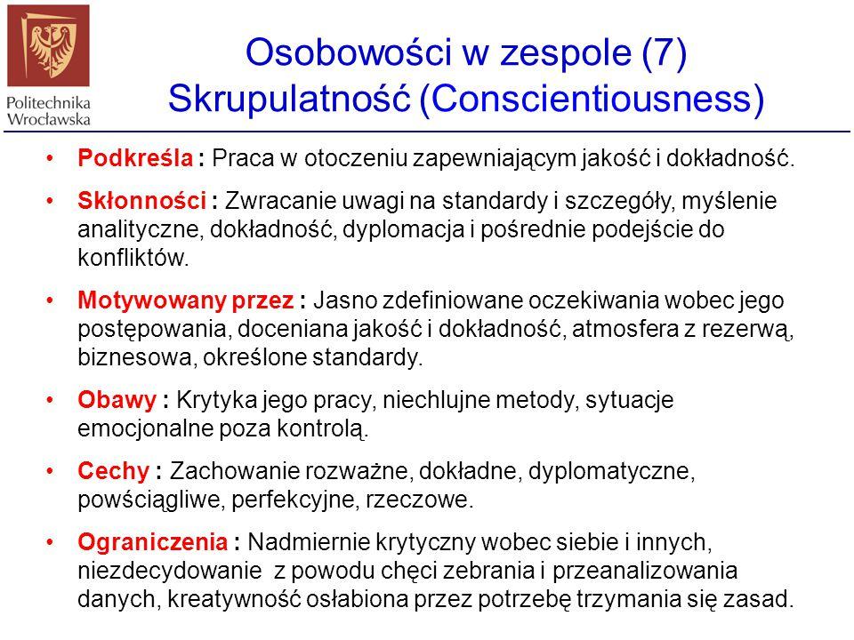 Osobowości w zespole (7) Skrupulatność (Conscientiousness) Podkreśla : Praca w otoczeniu zapewniającym jakość i dokładność. Skłonności : Zwracanie uwa