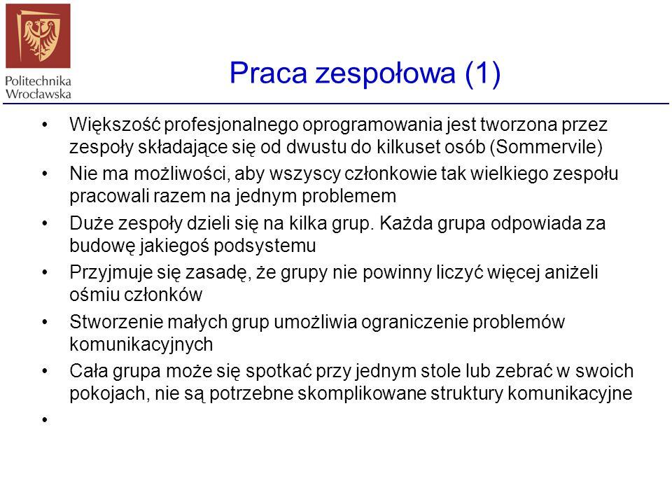 Zespół lidera-programisty (1) Lider - programista Programista zapasowy Dokumentator Administrator Narzędziowiec Spec.