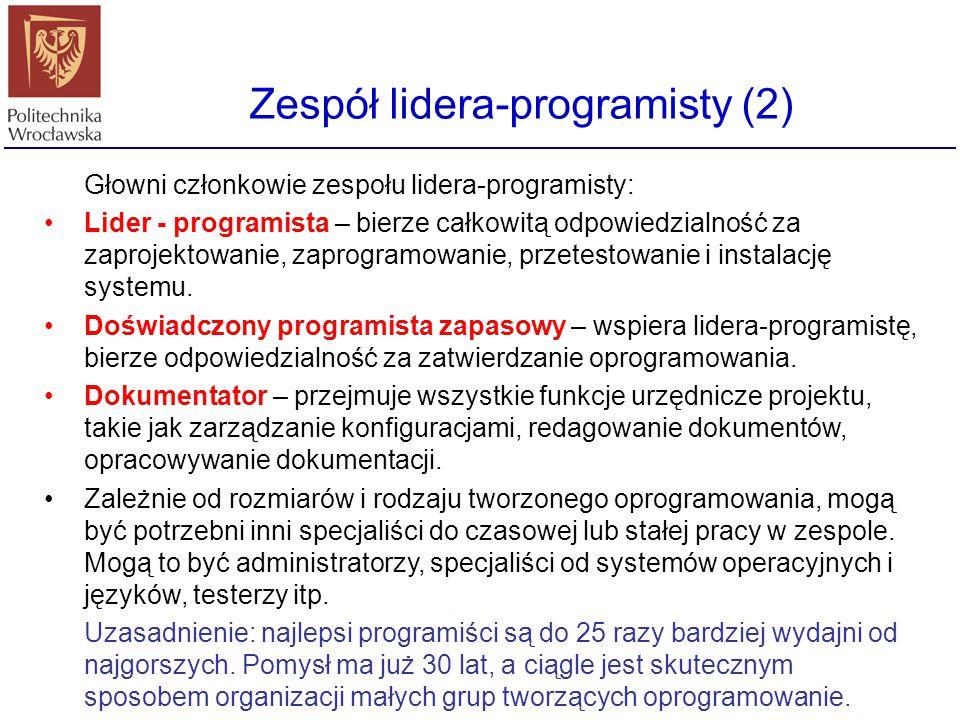 Głowni członkowie zespołu lidera-programisty: Lider - programista – bierze całkowitą odpowiedzialność za zaprojektowanie, zaprogramowanie, przetestowa