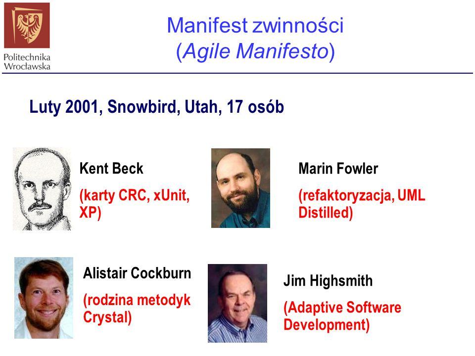 Manifest zwinności (Agile Manifesto) Kent Beck (karty CRC, xUnit, XP) Alistair Cockburn (rodzina metodyk Crystal) Marin Fowler (refaktoryzacja, UML Di