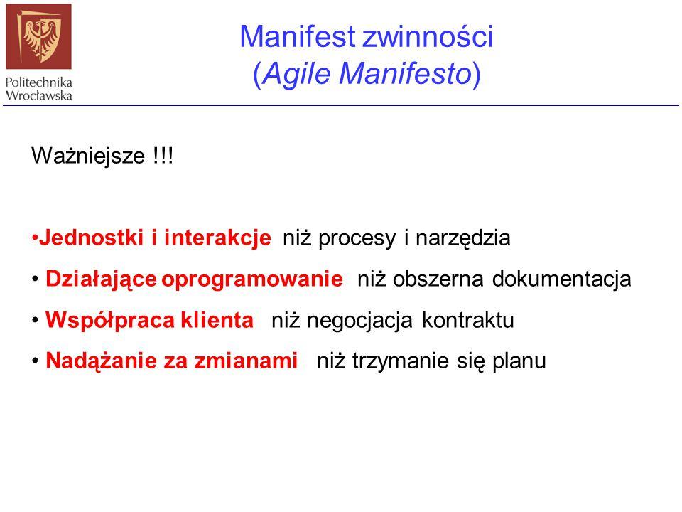 Manifest zwinności (Agile Manifesto) Ważniejsze !!! Jednostki i interakcje niż procesy i narzędzia Działające oprogramowanie niż obszerna dokumentacja