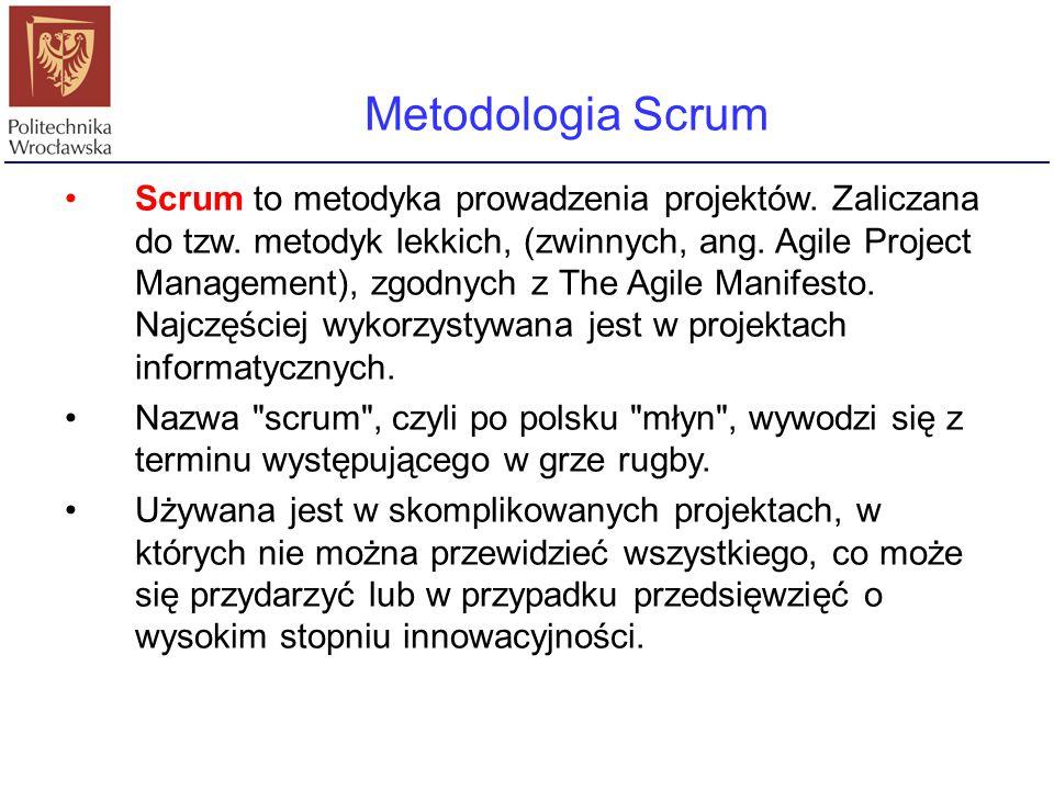 Metodologia Scrum Scrum to metodyka prowadzenia projektów. Zaliczana do tzw. metodyk lekkich, (zwinnych, ang. Agile Project Management), zgodnych z Th