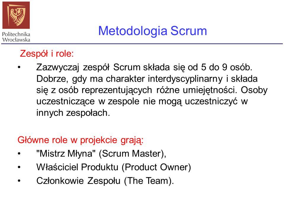 Metodologia Scrum Zespół i role: Zazwyczaj zespół Scrum składa się od 5 do 9 osób. Dobrze, gdy ma charakter interdyscyplinarny i składa się z osób rep