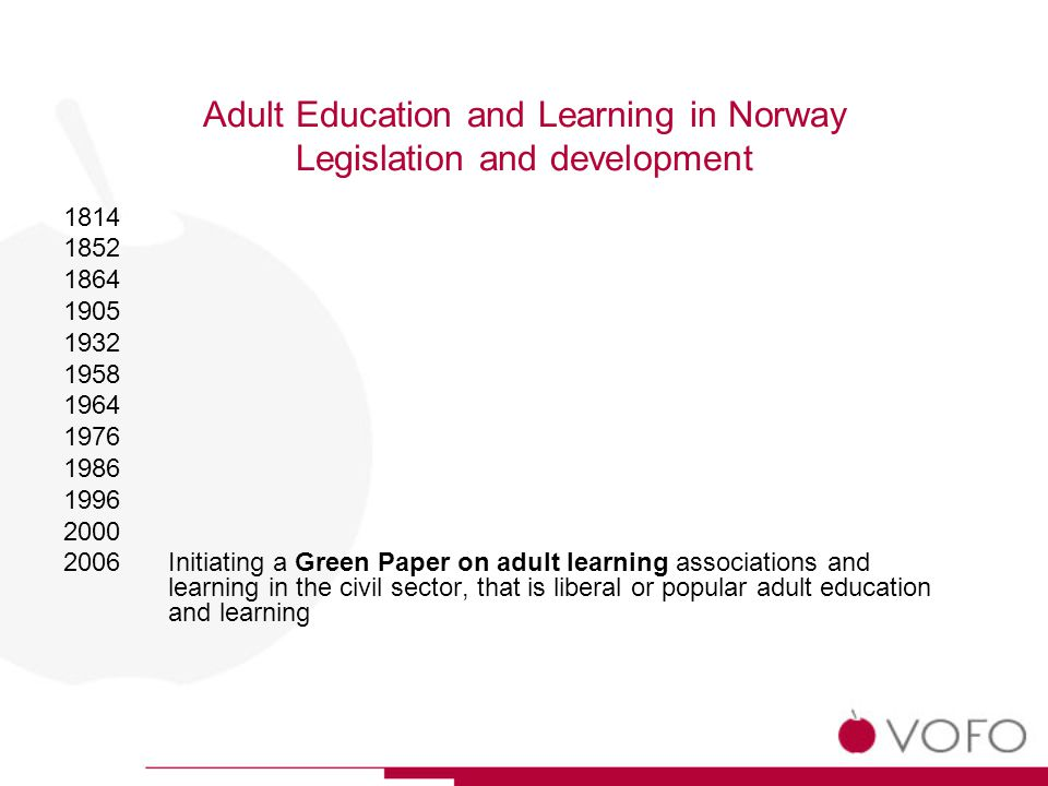 Adult Education and Learning in Norway Legislation and development 1814 1852 1864 1905 1932 1958 1964 1976 1986 1996 2000 2006Initiating a Green Paper