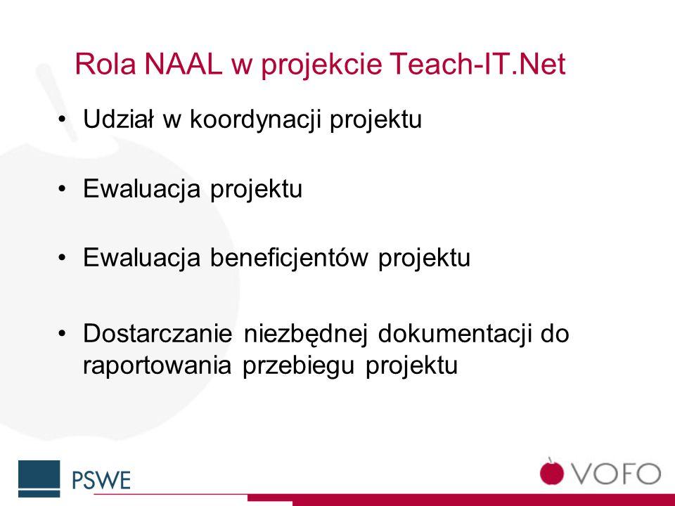 Rola NAAL w projekcie Teach-IT.Net Udział w koordynacji projektu Ewaluacja projektu Ewaluacja beneficjentów projektu Dostarczanie niezbędnej dokumentacji do raportowania przebiegu projektu