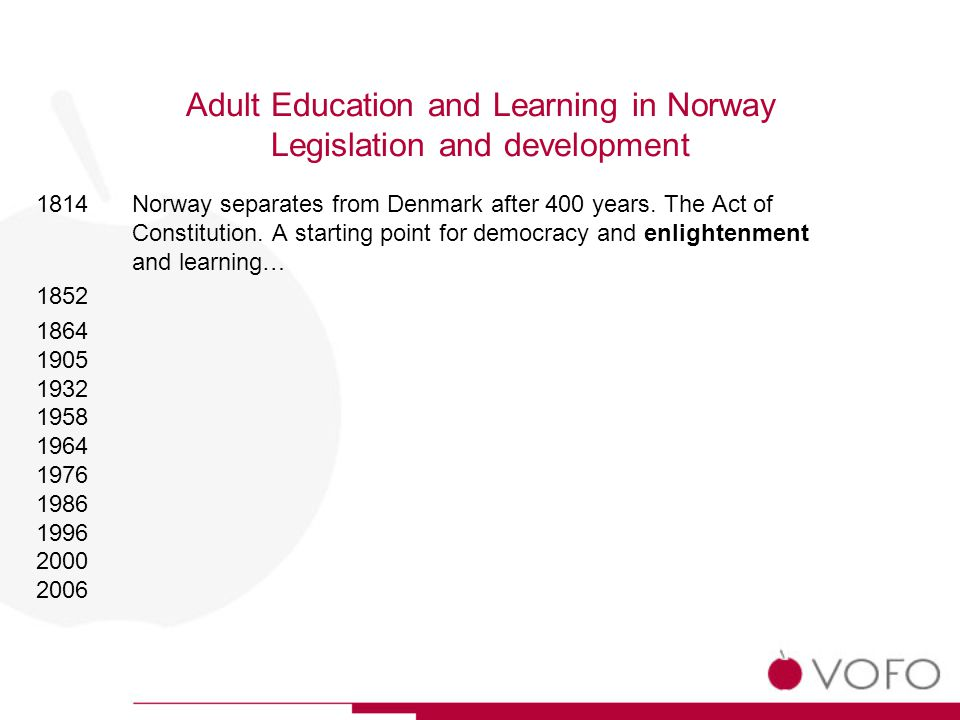 Adult Education and Learning in Norway Legislation and development 1814 1852The first NGO for adult learning – The Association for Popular Enlightenment.