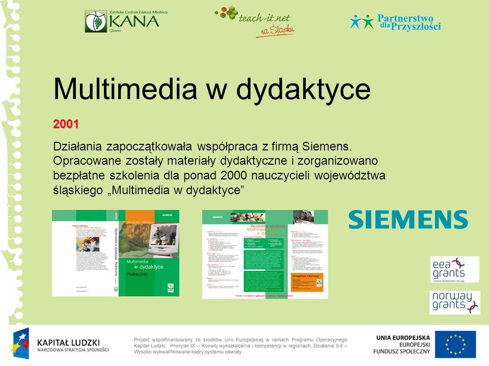 Multimedia w dydaktyce 2001 Działania zapoczątkowała współpraca z firmą Siemens. Opracowane zostały materiały dydaktyczne i zorganizowano bezpłatne sz